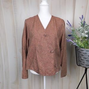 Flax Ruddy Crosshatch Crossover Blouse